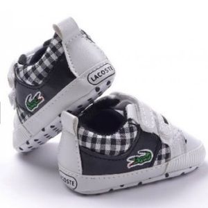 LACOSTE kids pre walker shoes white  checkered 0-6